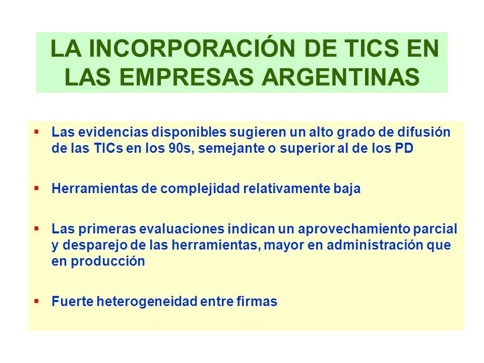 LA INCORPORACIÓN DE TICS EN LAS EMPRESAS ARGENTINAS Las evidencias disponibles sugieren un alto grado de difusión de las TICs en los 90s, semejante o
