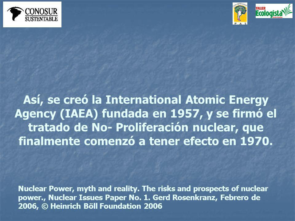 Así, se creó la International Atomic Energy Agency (IAEA) fundada en 1957, y se firmó el tratado de No- Proliferación nuclear, que finalmente comenzó a tener efecto en 1970.