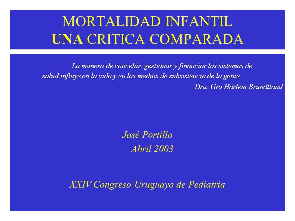 MORTALIDAD INFANTIL UNA CRITICA COMPARADA La manera de concebir, gestionar y financiar los sistemas de salud influye en la vida y en los medios de subsistencia de la gente Dra.