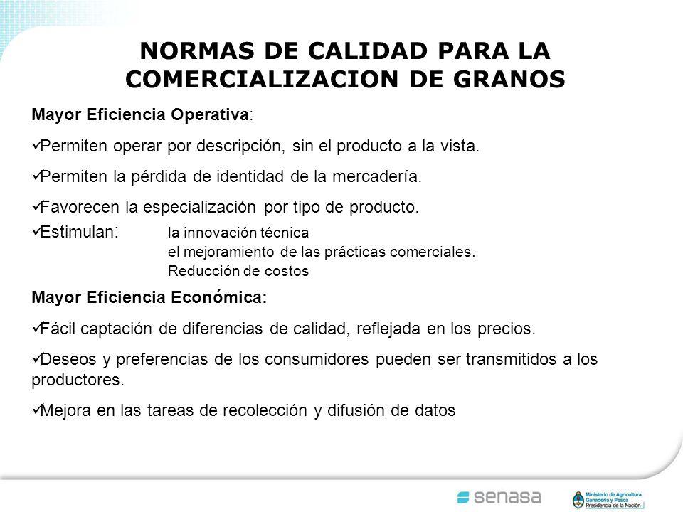 NORMAS DE CALIDAD PARA LA COMERCIALIZACION DE GRANOS Mayor Eficiencia Operativa: Permiten operar por descripción, sin el producto a la vista.