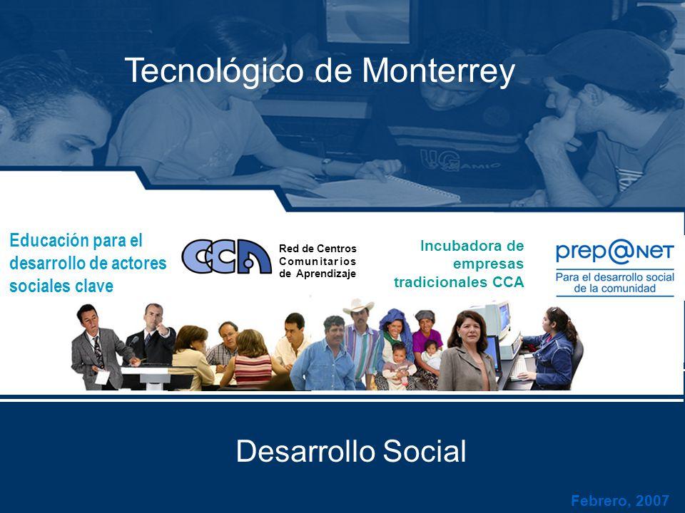 Febrero, 2007 Tecnológico de Monterrey Educación para el desarrollo de actores sociales clave Red de Centros Comunitarios de Aprendizaje Incubadora de