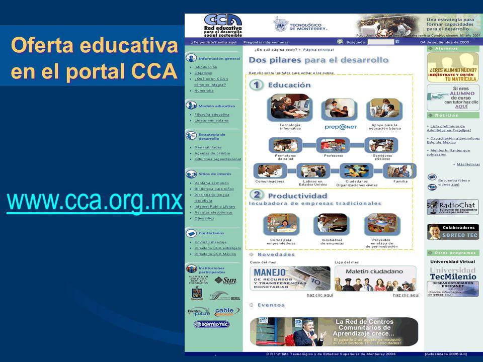 Oferta educativa en el portal CCA www.cca.org.mx