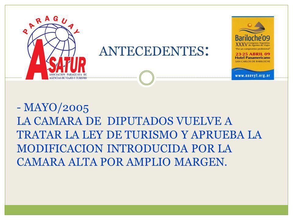 - MAYO/2005 LA CAMARA DE DIPUTADOS VUELVE A TRATAR LA LEY DE TURISMO Y APRUEBA LA MODIFICACION INTRODUCIDA POR LA CAMARA ALTA POR AMPLIO MARGEN.