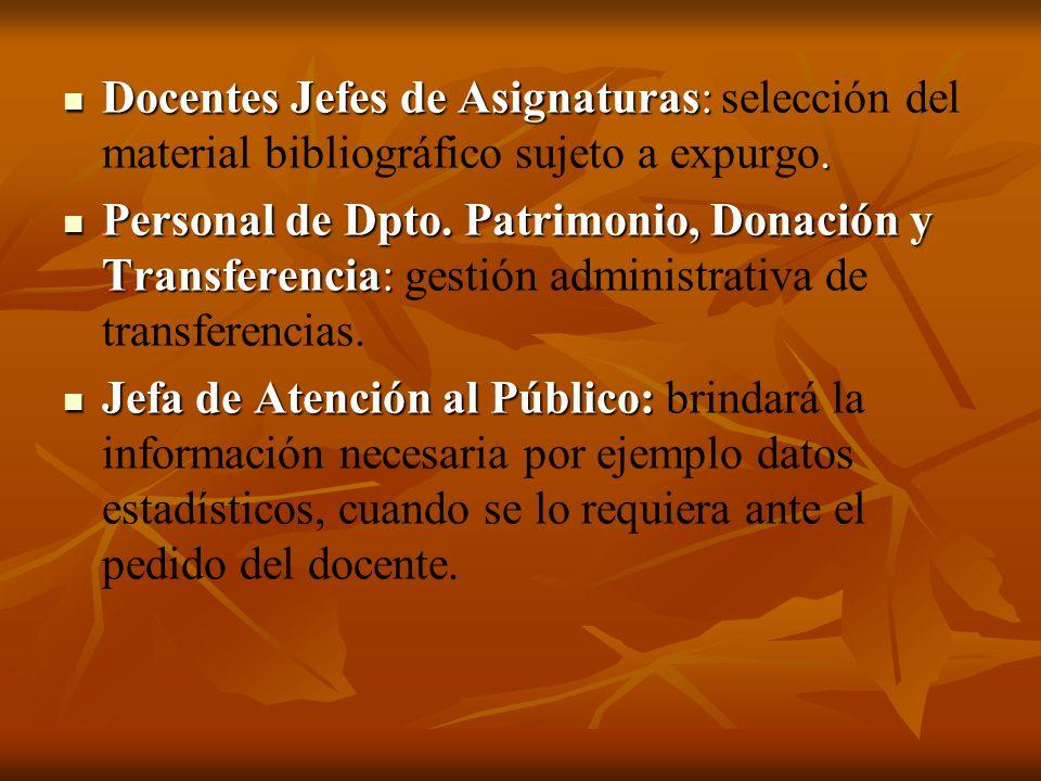 Docentes Jefes de Asignaturas:. Docentes Jefes de Asignaturas: selección del material bibliográfico sujeto a expurgo. Personal de Dpto. Patrimonio, Do