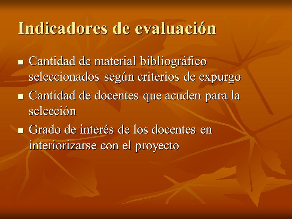 Indicadores de evaluación Cantidad de material bibliográfico seleccionados según criterios de expurgo Cantidad de material bibliográfico seleccionados