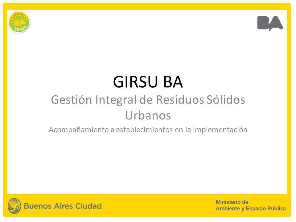GIRSU BA Gestión Integral de Residuos Sólidos Urbanos Acompañamiento a establecimientos en la implementación