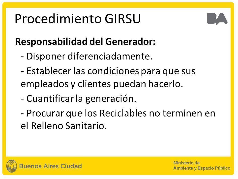 Procedimiento GIRSU Responsabilidad del Generador: - Disponer diferenciadamente.