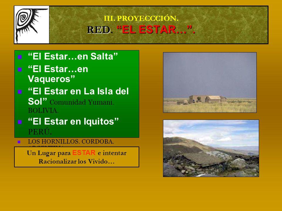 RED EL ESTAR…. III. PROYECCCIÓN. RED. EL ESTAR….