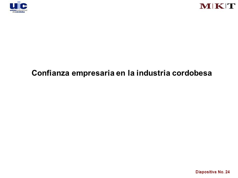 Diapositiva No. 24 Confianza empresaria en la industria cordobesa
