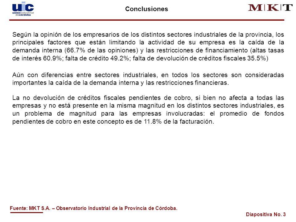Diapositiva No.3 Conclusiones Fuente: MKT S.A.