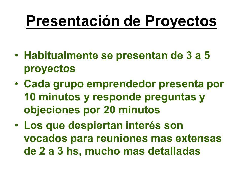 Habitualmente se presentan de 3 a 5 proyectos Cada grupo emprendedor presenta por 10 minutos y responde preguntas y objeciones por 20 minutos Los que despiertan interés son vocados para reuniones mas extensas de 2 a 3 hs, mucho mas detalladas Presentación de Proyectos