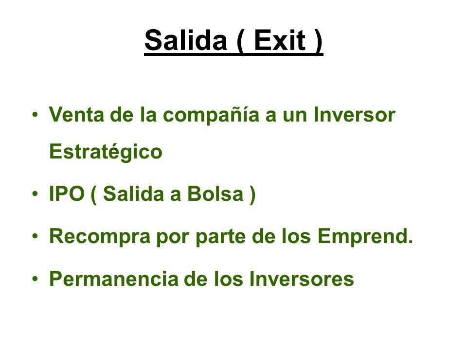 Venta de la compañía a un Inversor Estratégico IPO ( Salida a Bolsa ) Recompra por parte de los Emprend.