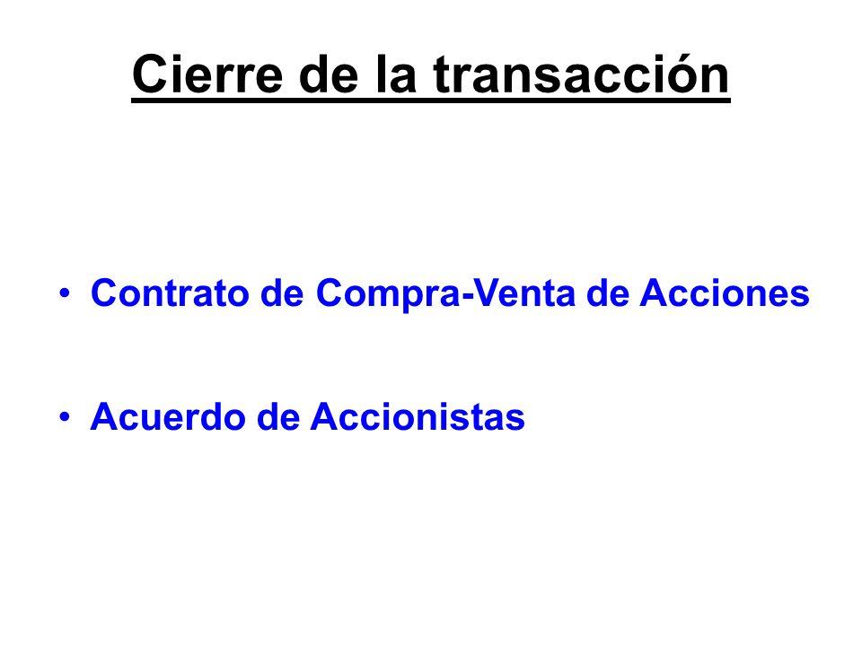 Contrato de Compra-Venta de Acciones Acuerdo de Accionistas Cierre de la transacción