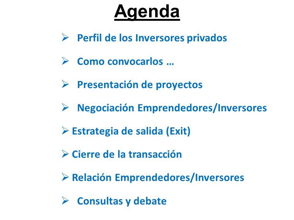 Agenda Perfil de los Inversores privados Como convocarlos … Presentación de proyectos Negociación Emprendedores/Inversores Estrategia de salida (Exit) Cierre de la transacción Relación Emprendedores/Inversores Consultas y debate