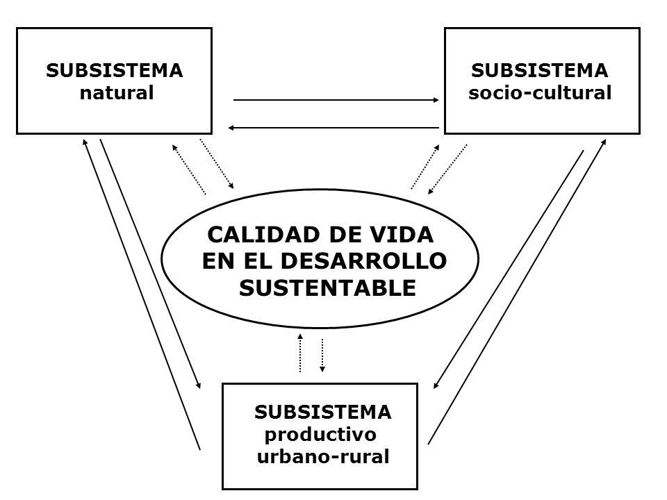 SUBSISTEMA natural SUBSISTEMA socio-cultural SUBSISTEMA productivo urbano-rural CALIDAD DE VIDA EN EL DESARROLLO SUSTENTABLE