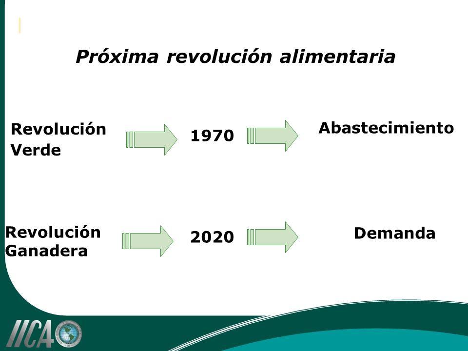 Próxima revolución alimentaria Revolución Verde Revolución Ganadera 1970 2020 Abastecimiento Demanda