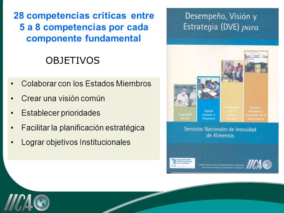 28 competencias criticas entre 5 a 8 competencias por cada componente fundamental Colaborar con los Estados Miembros Crear una visión común Establecer prioridades Facilitar la planificación estratégica Lograr objetivos Institucionales OBJETIVOS