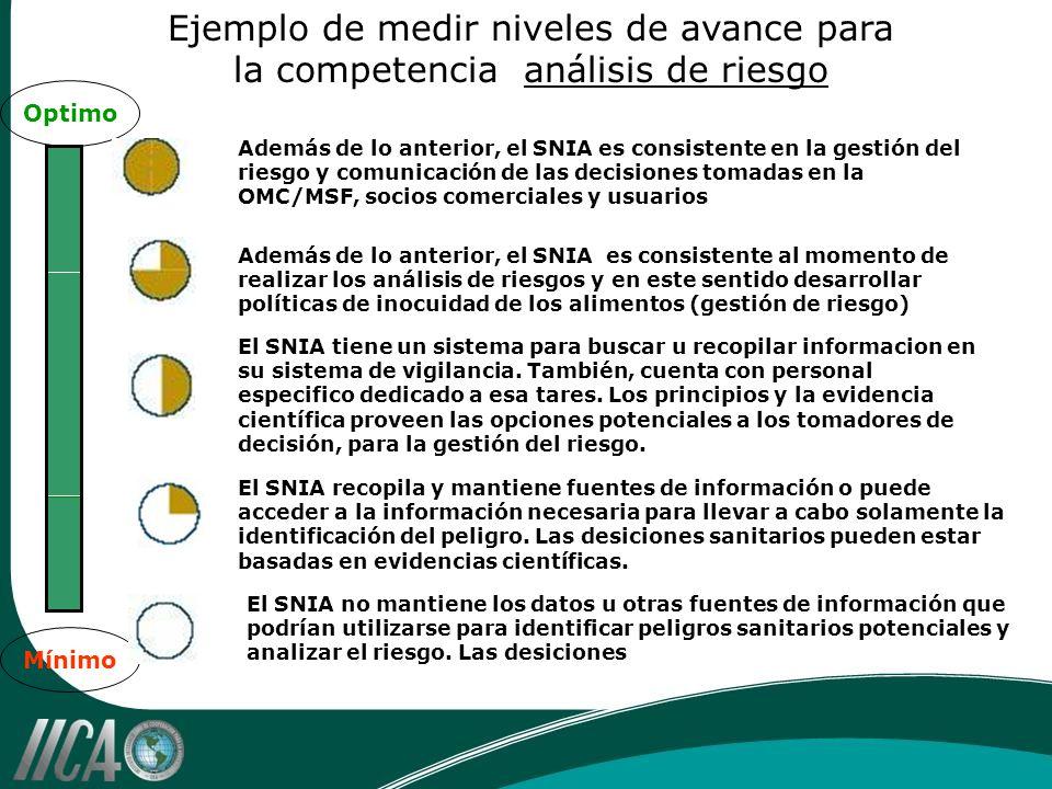 Ejemplo de medir niveles de avance para la competencia análisis de riesgo Además de lo anterior, el SNIA es consistente en la gestión del riesgo y com