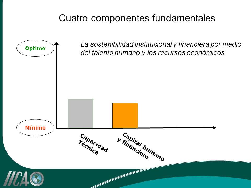 Optimo Mínimo Capacidad Técnica Capital humano y financiero Cuatro componentes fundamentales La sostenibilidad institucional y financiera por medio del talento humano y los recursos económicos.