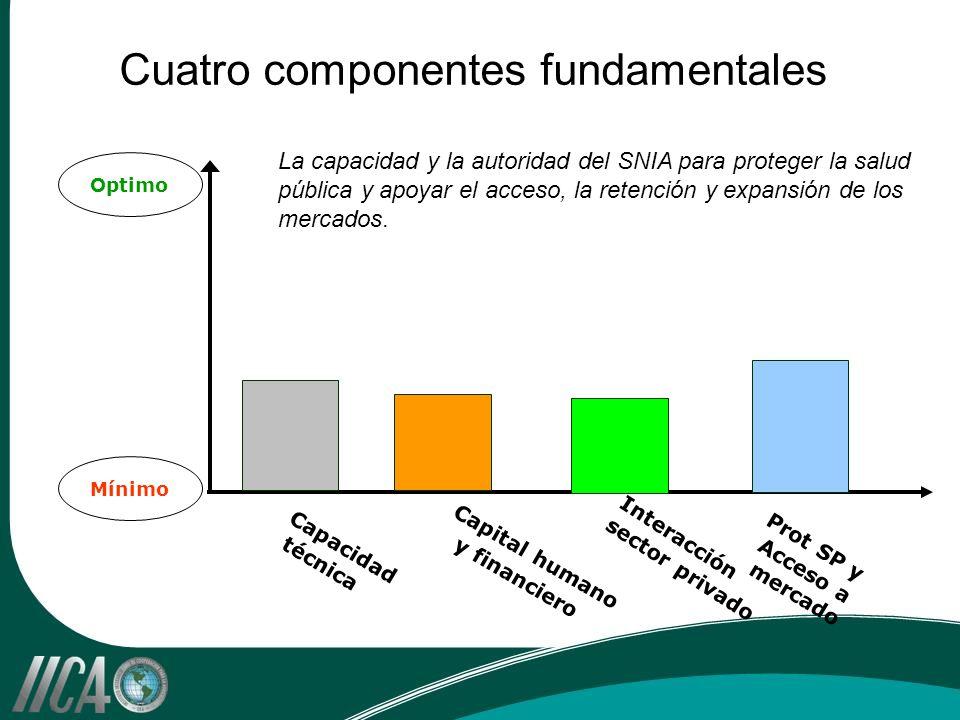 Cuatro componentes fundamentales Optimo Mínimo Prot SP y Acceso a mercado Capital humano y financiero Capacidad técnica Interacción sector privado La