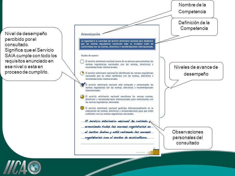 Nombre de la Competencia Definición de la Competencia Niveles de avance de desempeño Observaciones personales del consultado Nivel de desempeño percib