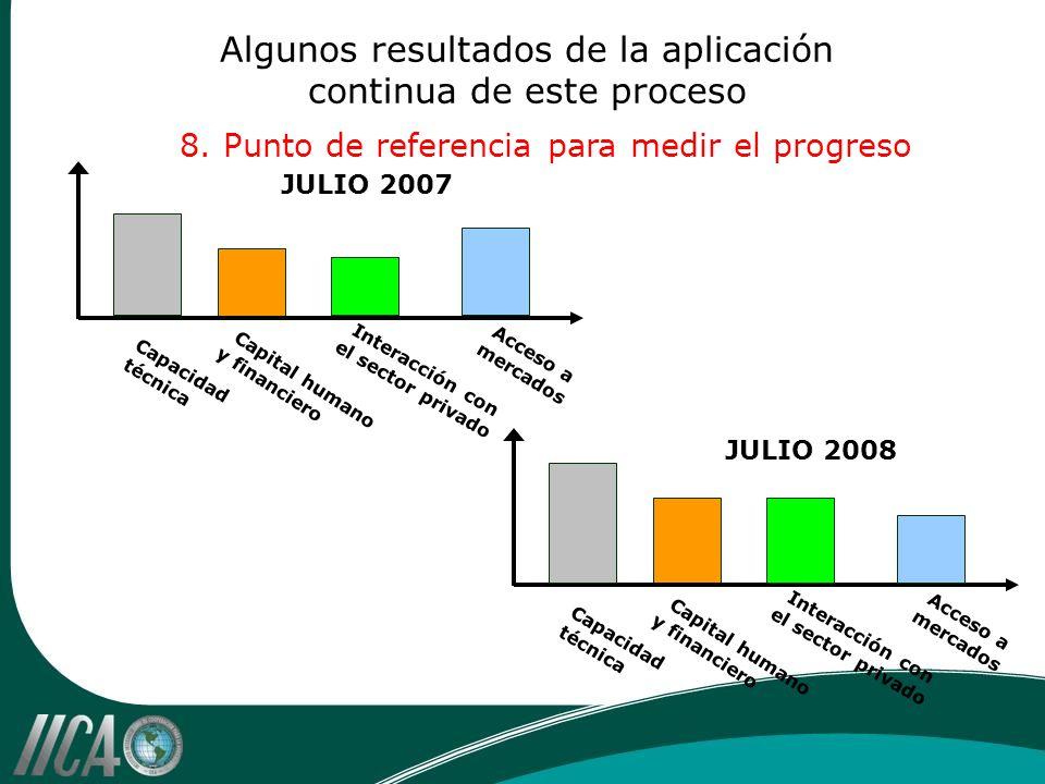 Algunos resultados de la aplicación continua de este proceso 8. Punto de referencia para medir el progreso Capacidad técnica JULIO 2007 Capital humano