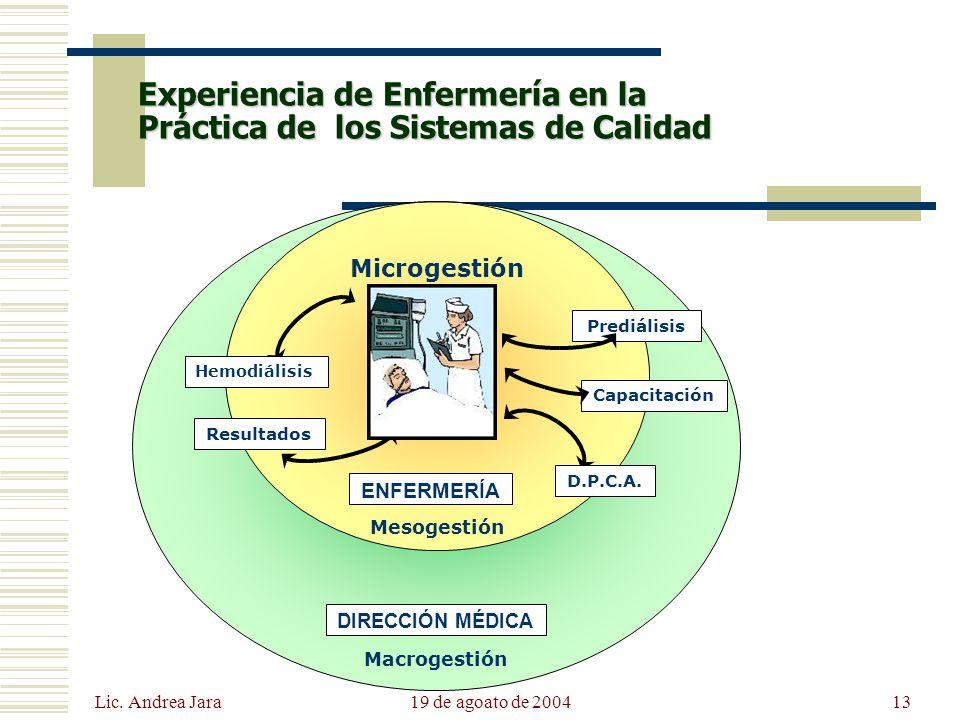 Lic. Andrea Jara 19 de agoato de 200413 Experiencia de Enfermería en la Práctica de los Sistemas de Calidad Microgestión Mesogestión Prediálisis D.P.C