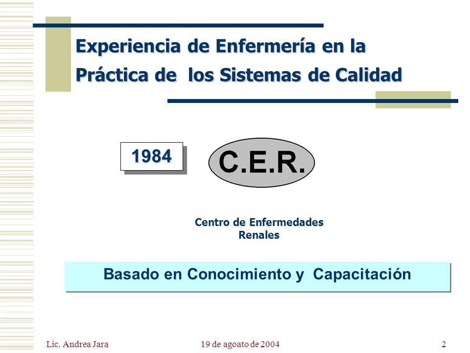 Lic. Andrea Jara 19 de agoato de 20042 Experiencia de Enfermería en la Práctica de los Sistemas de Calidad Centro de Enfermedades Renales 19841984 Bas