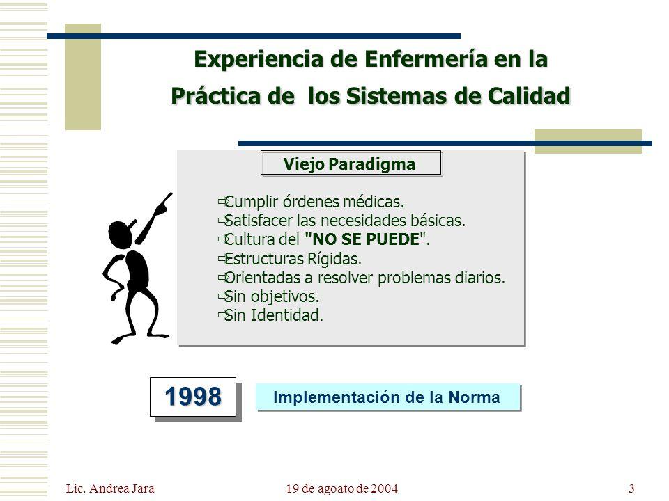 Lic. Andrea Jara 19 de agoato de 20043 Experiencia de Enfermería en la Práctica de los Sistemas de Calidad Viejo Paradigma Cumplir órdenes médicas. Sa