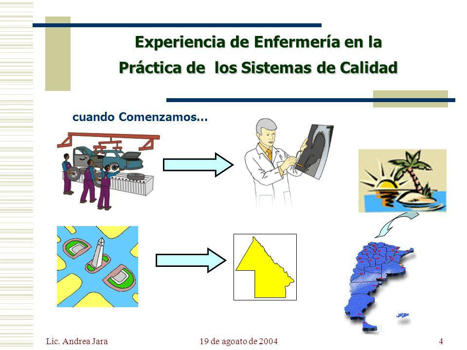 Lic. Andrea Jara 19 de agoato de 20044 Experiencia de Enfermería en la Práctica de los Sistemas de Calidad cuando Comenzamos...