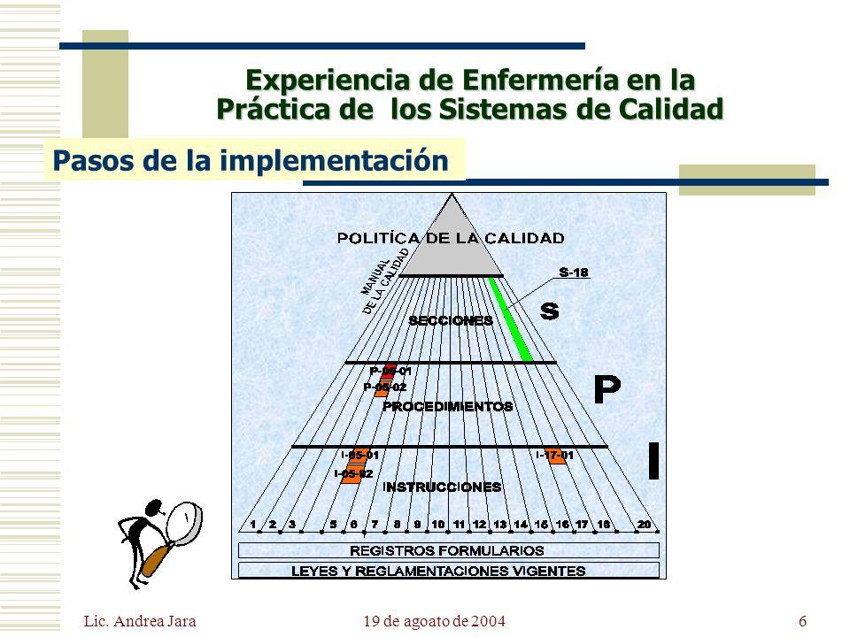Lic. Andrea Jara 19 de agoato de 20046 Experiencia de Enfermería en la Práctica de los Sistemas de Calidad Pasos de la implementación