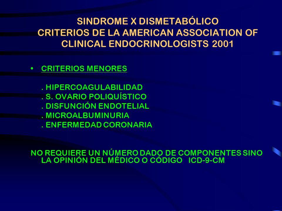 SINDROME X DISMETABÓLICO CRITERIOS DE LA AMERICAN ASSOCIATION OF CLINICAL ENDOCRINOLOGISTS 2001 CRITERIOS MAYORES. INSULINORRESISTENCIA (HIPERINSULINE