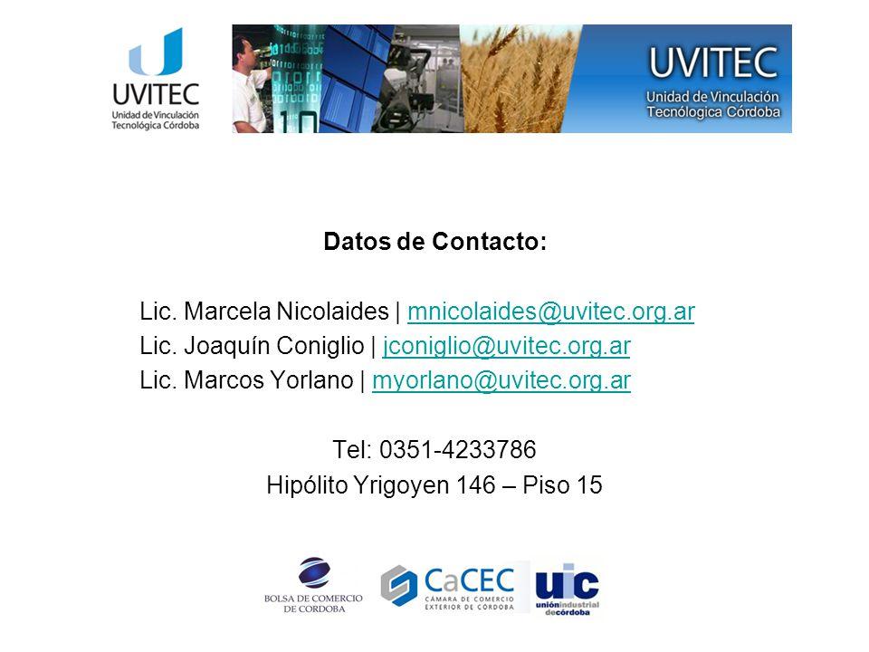Datos de Contacto: Lic.
