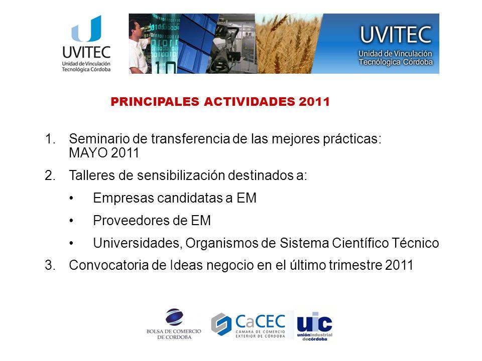 PRINCIPALES ACTIVIDADES 2011 1.Seminario de transferencia de las mejores prácticas: MAYO 2011 2.Talleres de sensibilización destinados a: Empresas can