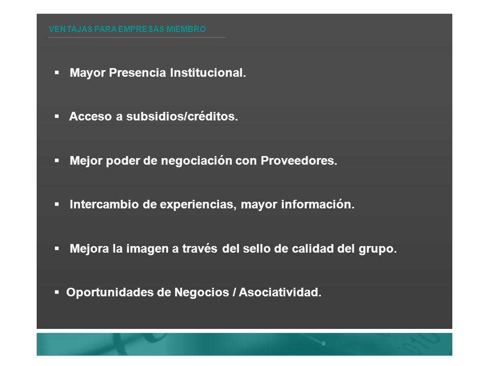 Mayor Presencia Institucional. Acceso a subsidios/créditos.