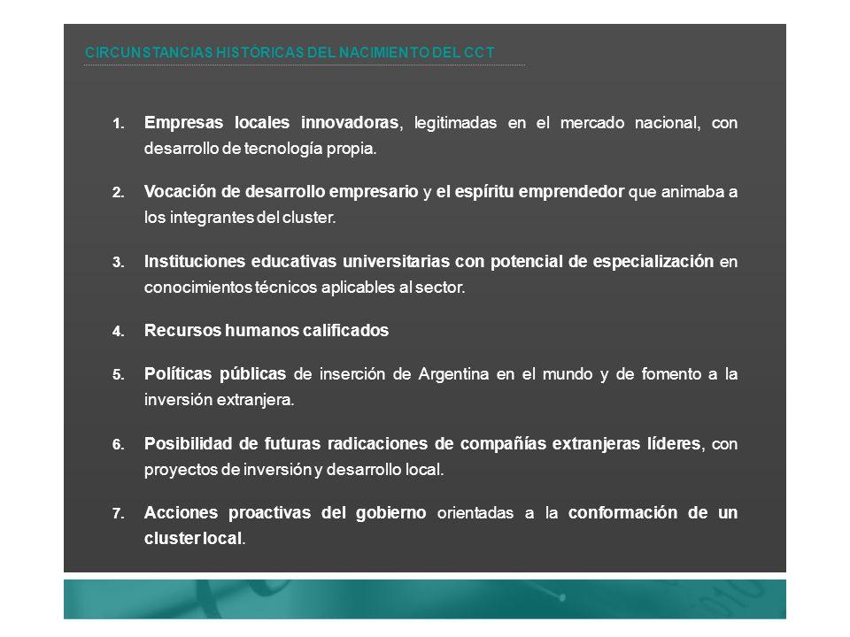 1. Empresas locales innovadoras, legitimadas en el mercado nacional, con desarrollo de tecnología propia. 2. Vocación de desarrollo empresario y el es