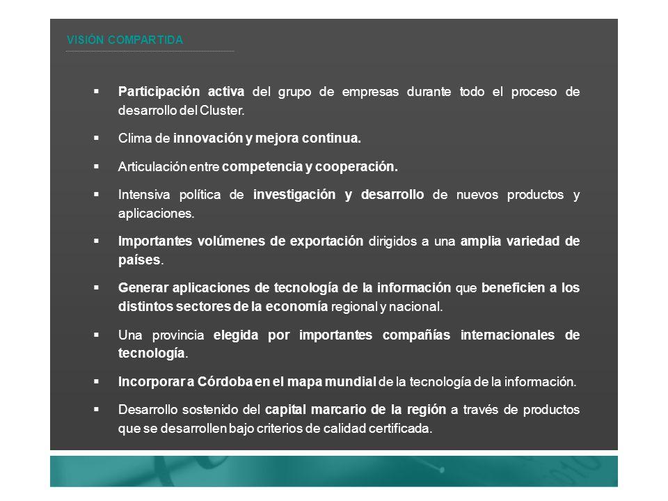 Participación activa del grupo de empresas durante todo el proceso de desarrollo del Cluster.