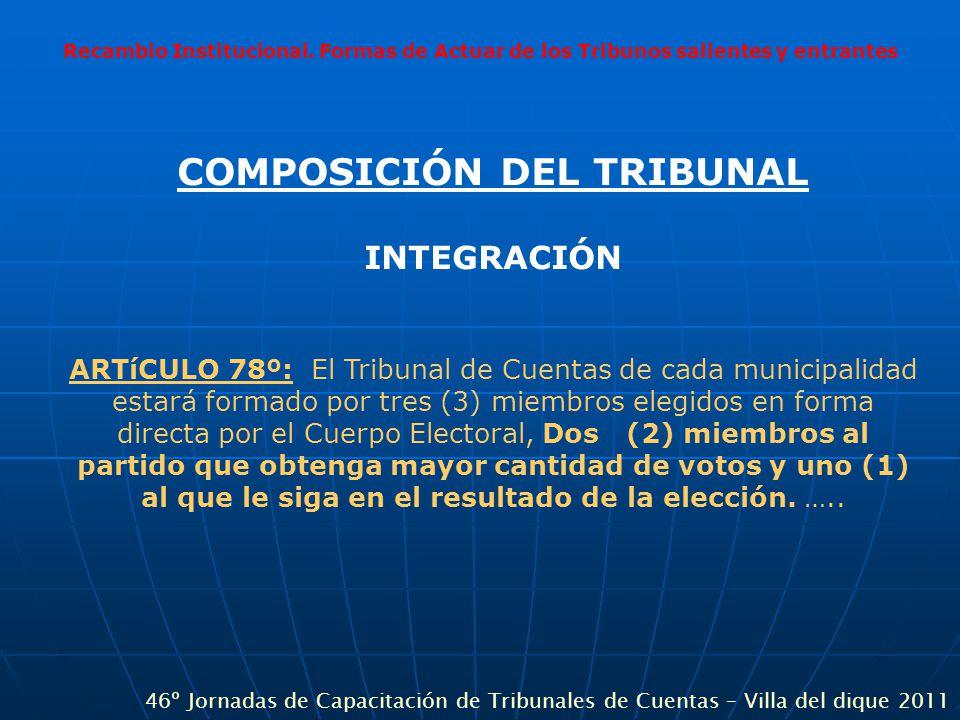 Recambio Institucional. Formas de Actuar de los Tribunos salientes y entrantes COMPOSICIÓN DEL TRIBUNAL INTEGRACIÓN ARTíCULO 78º: El Tribunal de Cuent