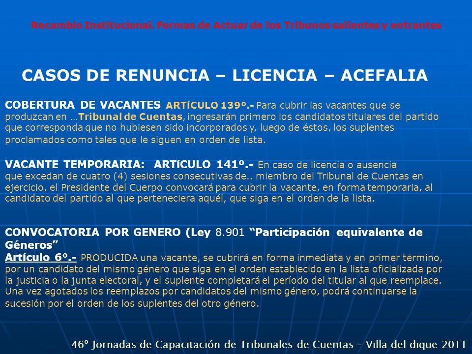 Recambio Institucional. Formas de Actuar de los Tribunos salientes y entrantes CASOS DE RENUNCIA – LICENCIA – ACEFALIA COBERTURA DE VACANTES ARTíCULO