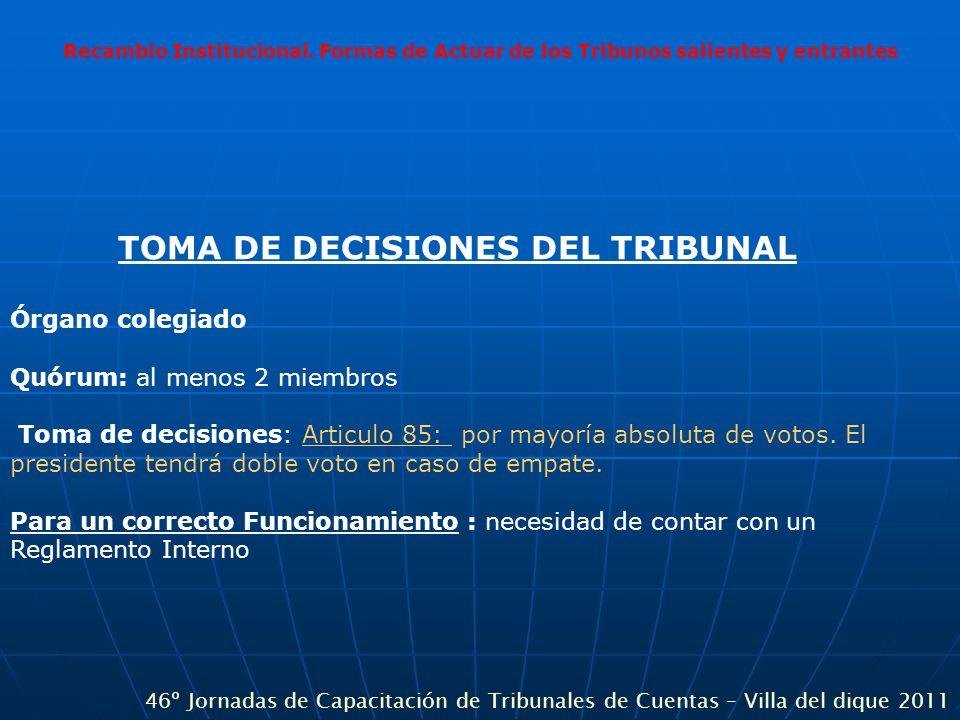 Recambio Institucional. Formas de Actuar de los Tribunos salientes y entrantes TOMA DE DECISIONES DEL TRIBUNAL Órgano colegiado Quórum: al menos 2 mie