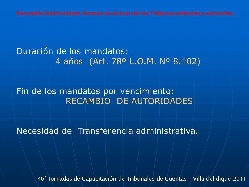 Recambio Institucional. Formas de Actuar de los Tribunos salientes y entrantes Duración de los mandatos: 4 años (Art. 78º L.O.M. Nº 8.102) Fin de los