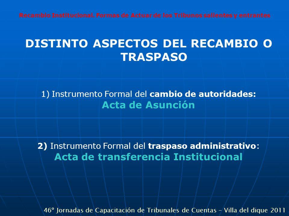 Recambio Institucional. Formas de Actuar de los Tribunos salientes y entrantes DISTINTO ASPECTOS DEL RECAMBIO O TRASPASO 1)Instrumento Formal del camb