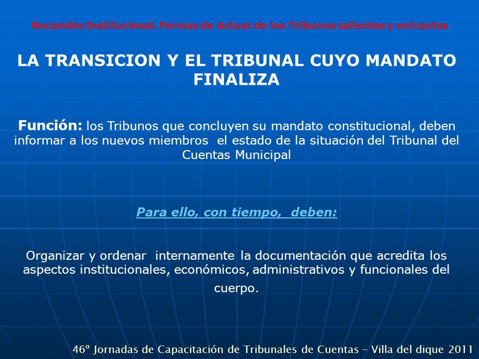 Recambio Institucional. Formas de Actuar de los Tribunos salientes y entrantes LA TRANSICION Y EL TRIBUNAL CUYO MANDATO FINALIZA Función: los Tribunos