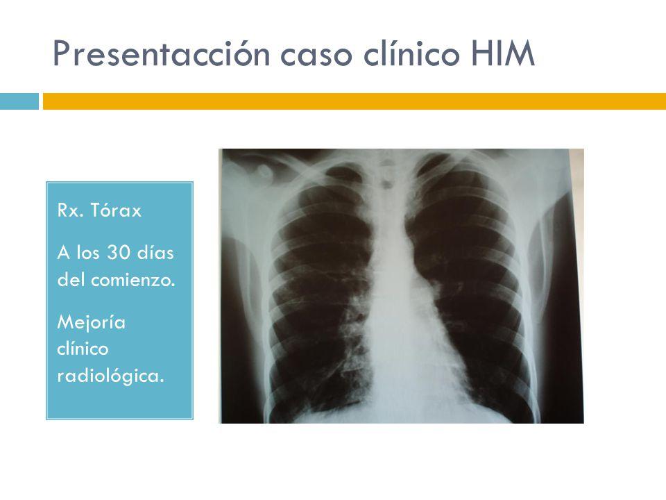 Presentacción caso clínico HIM Rx. Tórax A los 30 días del comienzo. Mejoría clínico radiológica.