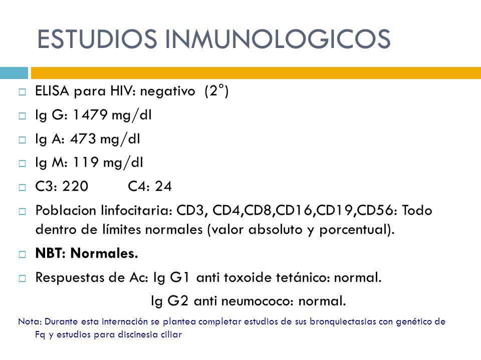 ESTUDIOS INMUNOLOGICOS ELISA para HIV: negativo (2°) Ig G: 1479 mg/dl Ig A: 473 mg/dl Ig M: 119 mg/dl C3: 220 C4: 24 Poblacion linfocitaria: CD3, CD4,