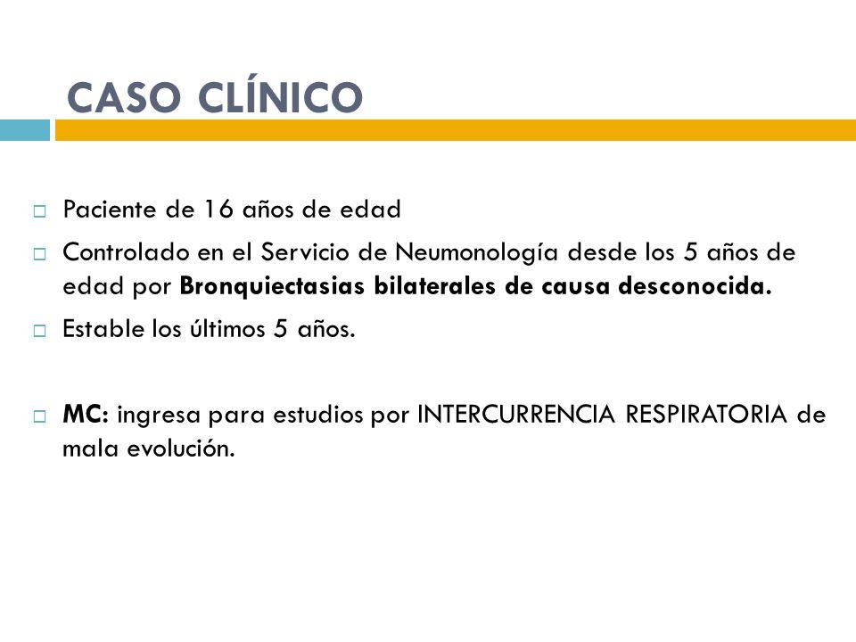CASO CLÍNICO Paciente de 16 años de edad Controlado en el Servicio de Neumonología desde los 5 años de edad por Bronquiectasias bilaterales de causa d