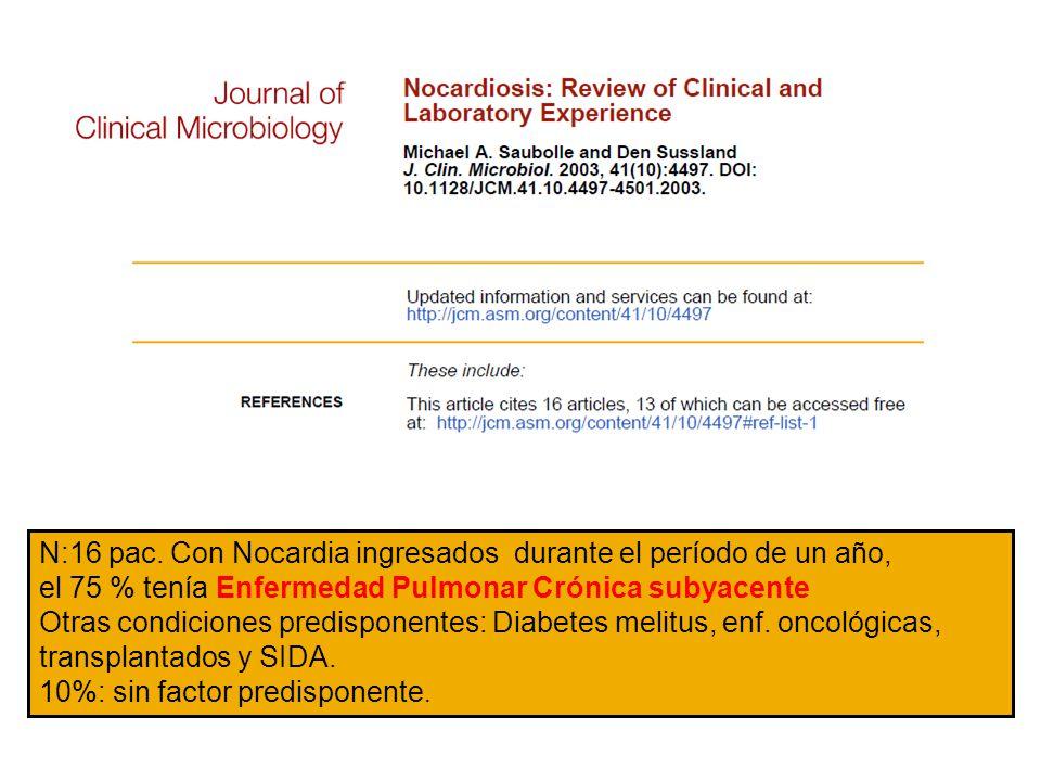 N:16 pac. Con Nocardia ingresados durante el período de un año, el 75 % tenía Enfermedad Pulmonar Crónica subyacente Otras condiciones predisponentes: