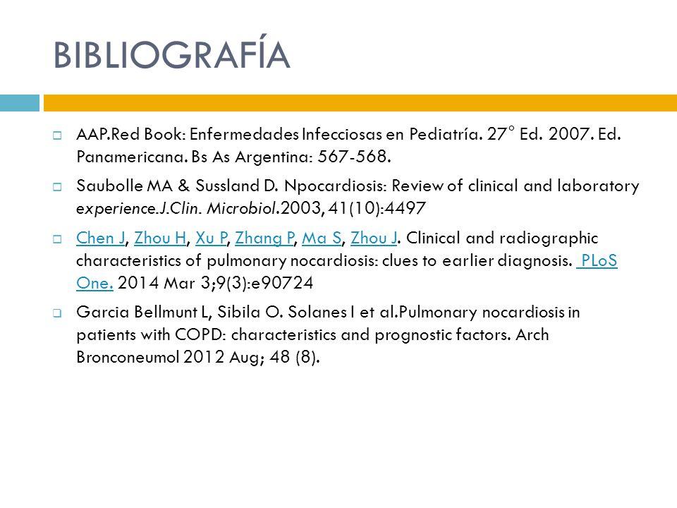 BIBLIOGRAFÍA AAP.Red Book: Enfermedades Infecciosas en Pediatría. 27° Ed. 2007. Ed. Panamericana. Bs As Argentina: 567-568. Saubolle MA & Sussland D.