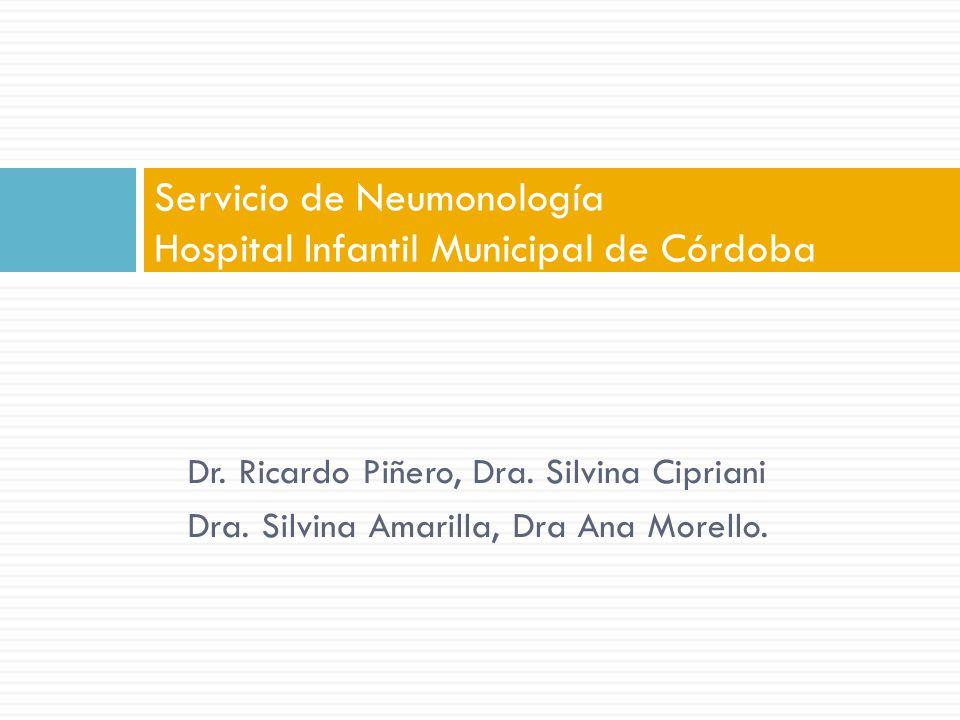 Dr. Ricardo Piñero, Dra. Silvina Cipriani Dra. Silvina Amarilla, Dra Ana Morello. Servicio de Neumonología Hospital Infantil Municipal de Córdoba