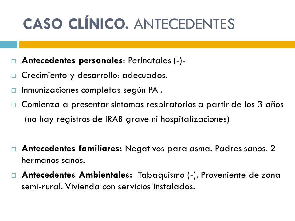 CASO CLÍNICO. ANTECEDENTES Antecedentes personales: Perinatales (-)- Crecimiento y desarrollo: adecuados. Inmunizaciones completas según PAI. Comienza